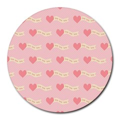 Heart Love Pattern Round Mousepads