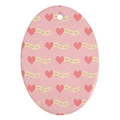 Heart Love Pattern Ornament (oval)