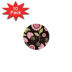 Flowers Wallpaper Floral Decoration 1  Mini Buttons (10 Pack)  by Nexatart