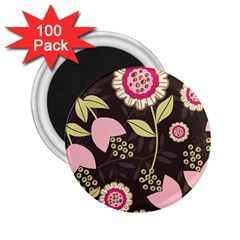Flowers Wallpaper Floral Decoration 2 25  Magnets (100 Pack)  by Nexatart