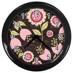 Flowers Wallpaper Floral Decoration Wall Clocks (black) by Nexatart