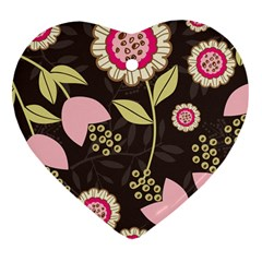 Flowers Wallpaper Floral Decoration Heart Ornament (two Sides)