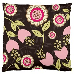 Flowers Wallpaper Floral Decoration Large Flano Cushion Case (one Side) by Nexatart