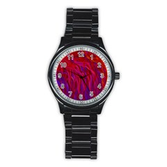 Background Texture Pattern Stainless Steel Round Watch by Nexatart