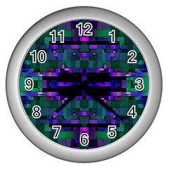 Abstract Pattern Desktop Wallpaper Wall Clocks (silver)