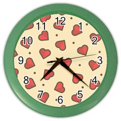 Design Love Heart Seamless Pattern Color Wall Clocks