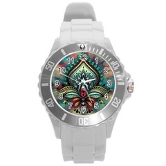 Decoration Pattern Ornate Art Round Plastic Sport Watch (l)