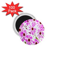 Pink Purple Daisies Design Flowers 1 75  Magnets (100 Pack)