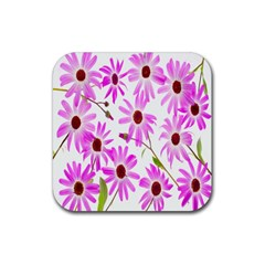 Pink Purple Daisies Design Flowers Rubber Square Coaster (4 Pack)