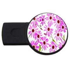 Pink Purple Daisies Design Flowers Usb Flash Drive Round (2 Gb)