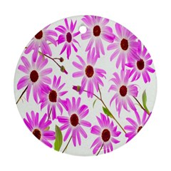 Pink Purple Daisies Design Flowers Round Ornament (two Sides)