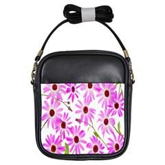 Pink Purple Daisies Design Flowers Girls Sling Bags