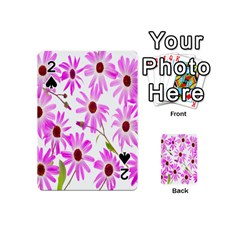 Pink Purple Daisies Design Flowers Playing Cards 54 (mini)