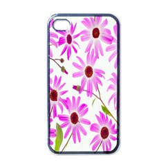 Pink Purple Daisies Design Flowers Apple Iphone 4 Case (black)