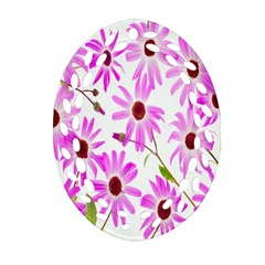 Pink Purple Daisies Design Flowers Oval Filigree Ornament (two Sides)