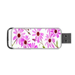 Pink Purple Daisies Design Flowers Portable Usb Flash (two Sides)
