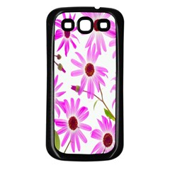 Pink Purple Daisies Design Flowers Samsung Galaxy S3 Back Case (black)