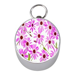 Pink Purple Daisies Design Flowers Mini Silver Compasses