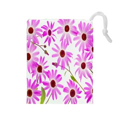 Pink Purple Daisies Design Flowers Drawstring Pouches (large)