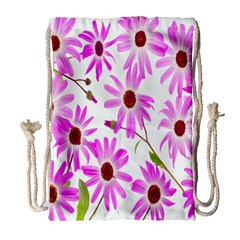 Pink Purple Daisies Design Flowers Drawstring Bag (large)
