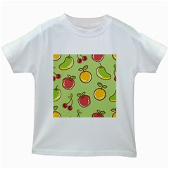 Seamless Pattern Healthy Fruit Kids White T Shirts