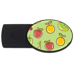 Seamless Pattern Healthy Fruit Usb Flash Drive Oval (2 Gb)