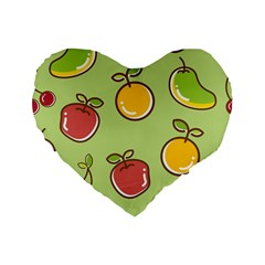 Seamless Pattern Healthy Fruit Standard 16  Premium Flano Heart Shape Cushions