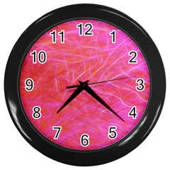 Pink Background Abstract Texture Wall Clocks (black)