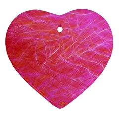 Pink Background Abstract Texture Heart Ornament (two Sides)