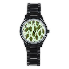 Design Pattern Background Green Stainless Steel Round Watch by Nexatart