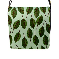 Design Pattern Background Green Flap Messenger Bag (l)
