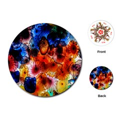 Ornament Color Vivid Pattern Art Playing Cards (round)