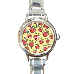 Seamless Pattern Healthy Fruit Round Italian Charm Watch