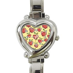 Seamless Pattern Healthy Fruit Heart Italian Charm Watch