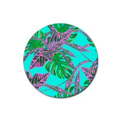 Painting Oil Leaves Nature Reason Rubber Round Coaster (4 Pack)