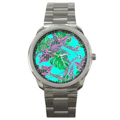 Painting Oil Leaves Nature Reason Sport Metal Watch
