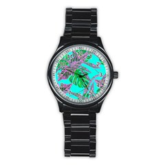 Painting Oil Leaves Nature Reason Stainless Steel Round Watch
