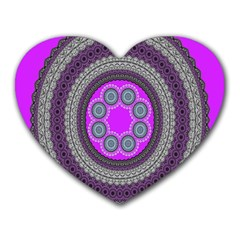Round Pattern Ethnic Design Heart Mousepads