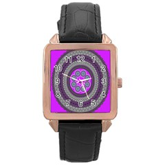 Round Pattern Ethnic Design Rose Gold Leather Watch