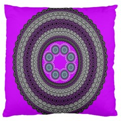 Round Pattern Ethnic Design Large Flano Cushion Case (two Sides) by Nexatart