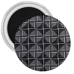 Pattern Op Art Black White Grey 3  Magnets
