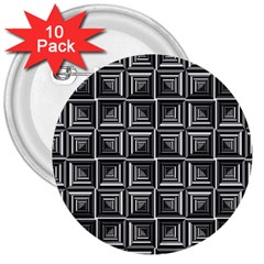 Pattern Op Art Black White Grey 3  Buttons (10 Pack)