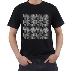 Pattern Op Art Black White Grey Men s T Shirt (black) (two Sided)