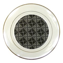 Pattern Op Art Black White Grey Porcelain Plates