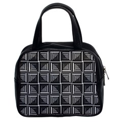 Pattern Op Art Black White Grey Classic Handbags (2 Sides)