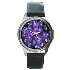 Abstract Pattern Fractal Wallpaper Round Metal Watch