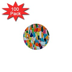 Mosaic Tiles Pattern Texture 1  Mini Buttons (100 Pack)