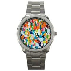 Mosaic Tiles Pattern Texture Sport Metal Watch by Nexatart