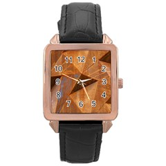 Steel Corten Steel Brown Steel Rose Gold Leather Watch  by Nexatart