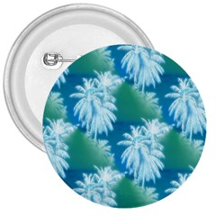 Palm Trees Tropical Beach Coastal Summer Blue Green 3  Buttons by CrypticFragmentsColors